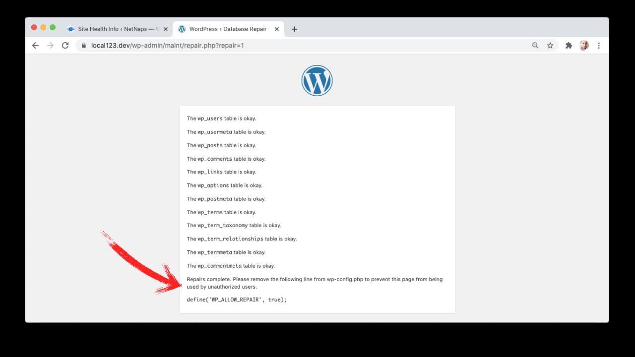 Repairing WordPress Database