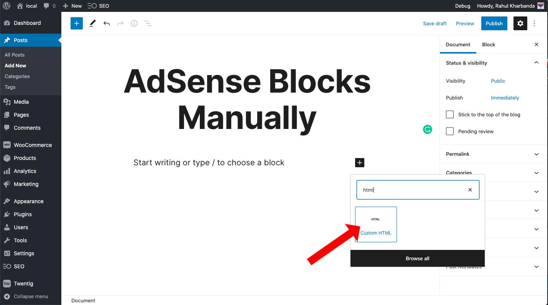 adding blocks custom html
