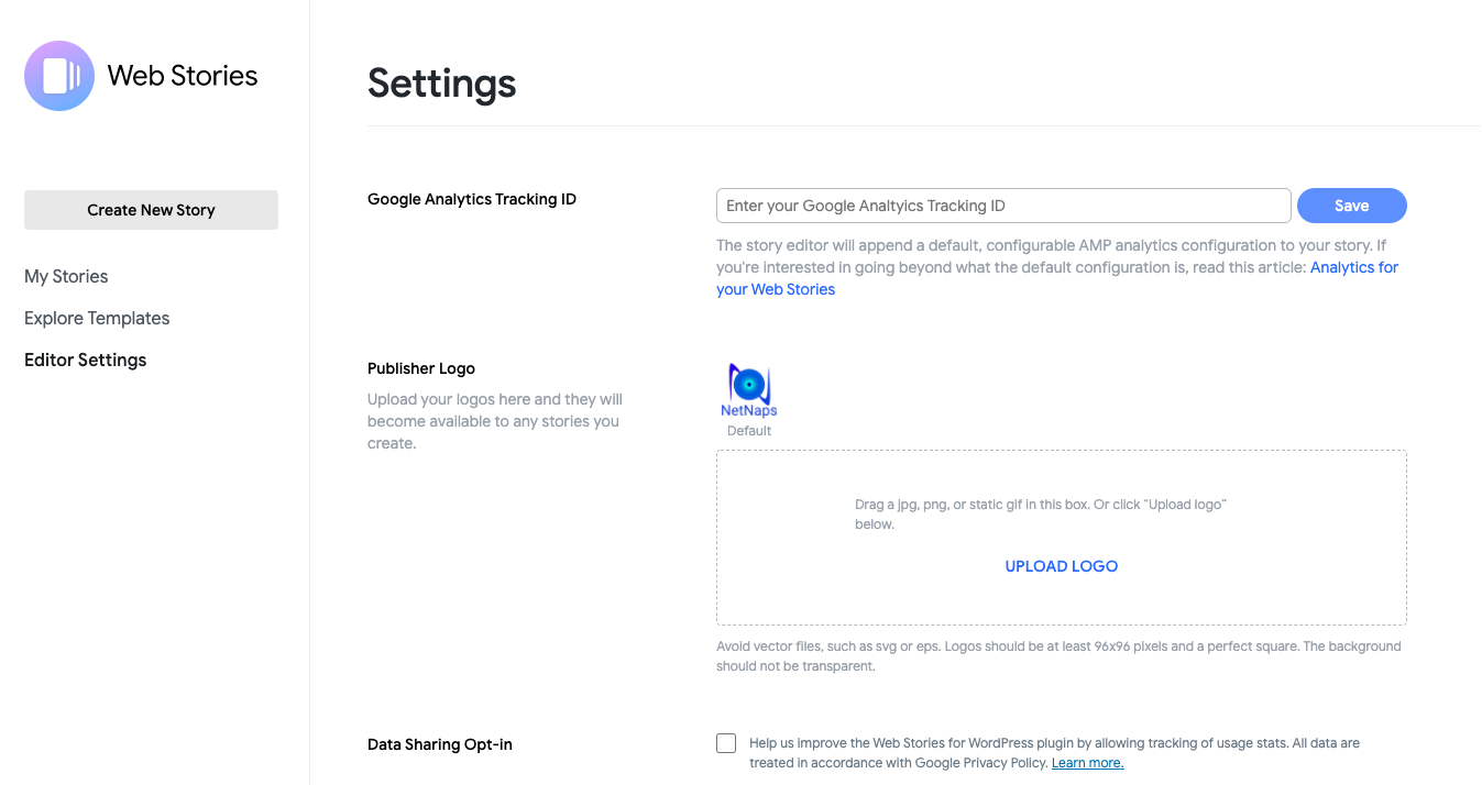 editor settings wordpress web stories plugin