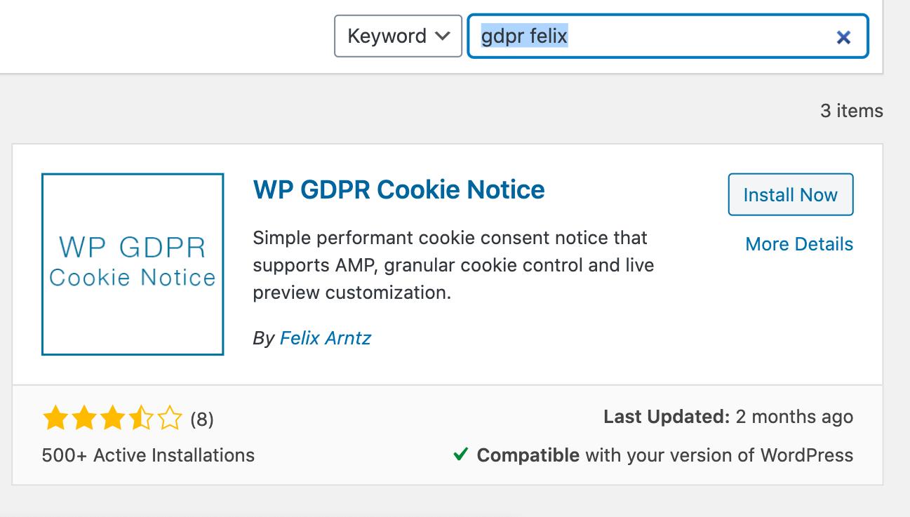 cookie notice gdpr by felix arntz for AMP