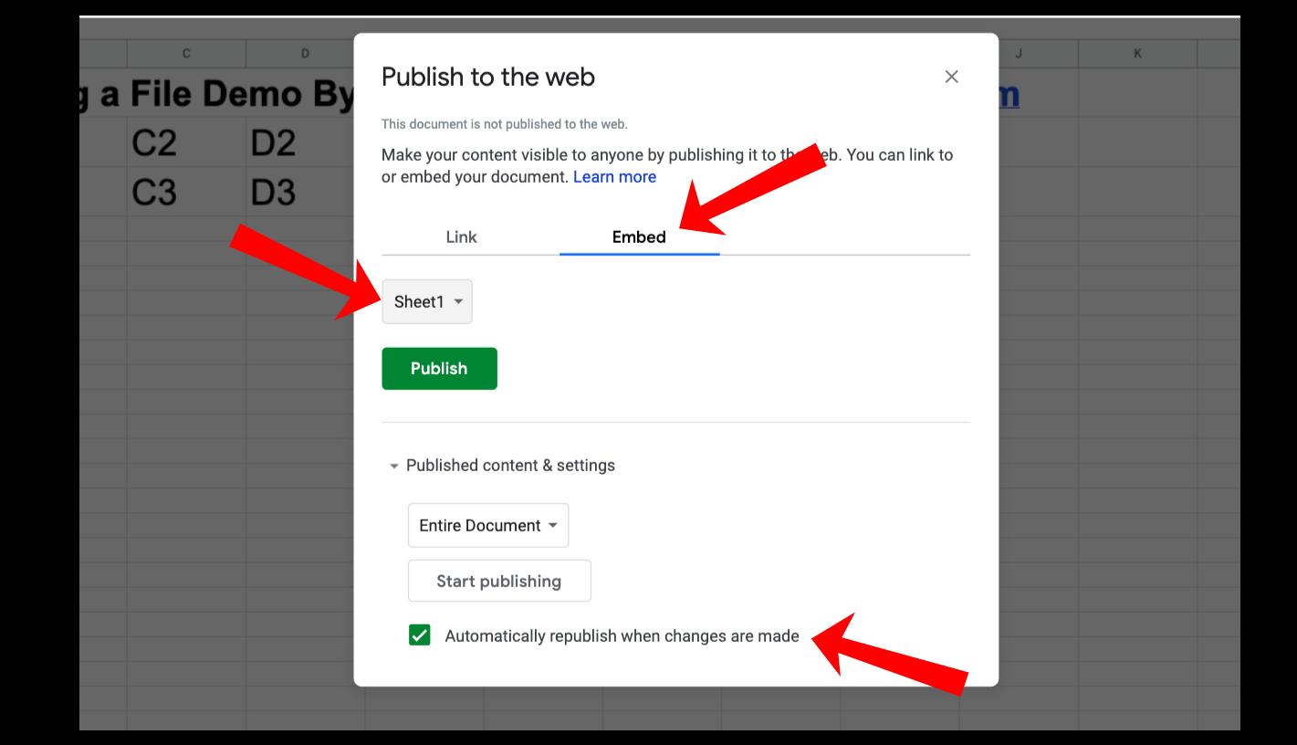 embed google spreadsheet wordpress
