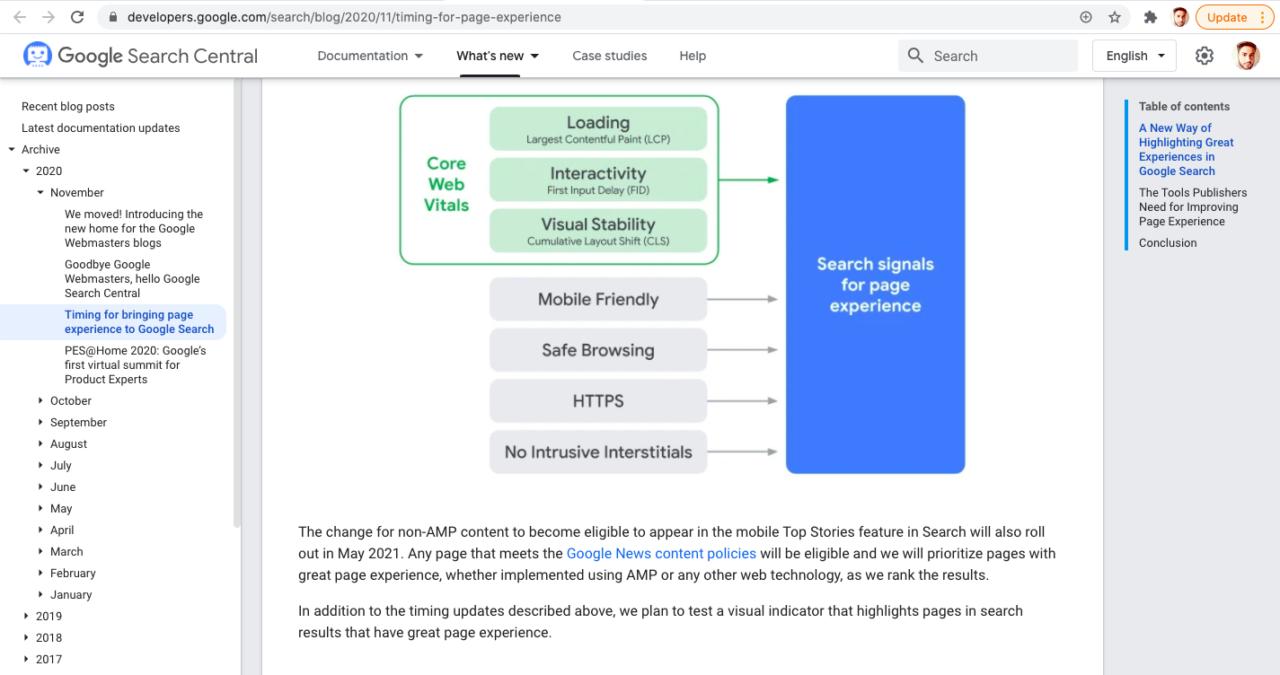 screenshot from google blog