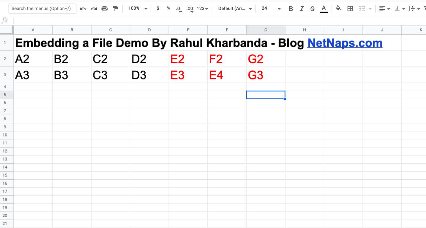 Google Spreadsheet Embed