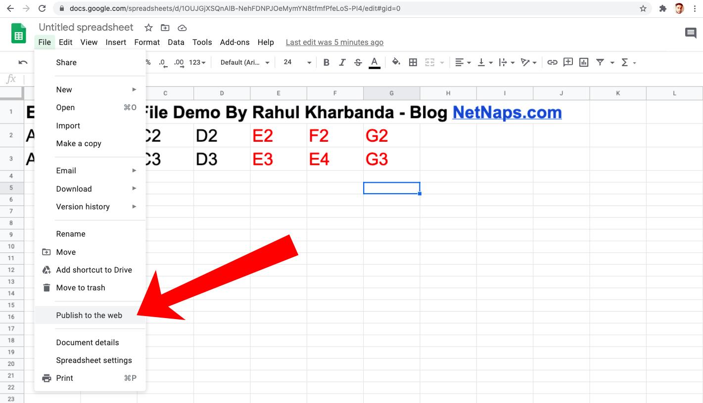 embed google spreadsheet on website