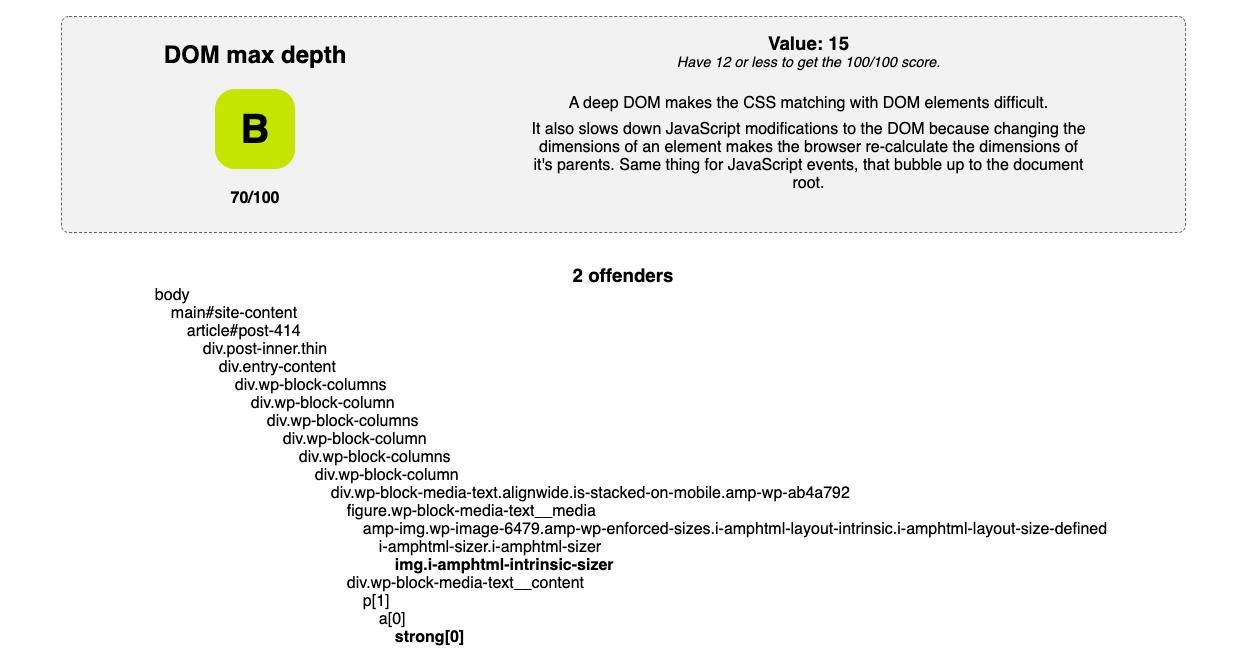 dom size depth