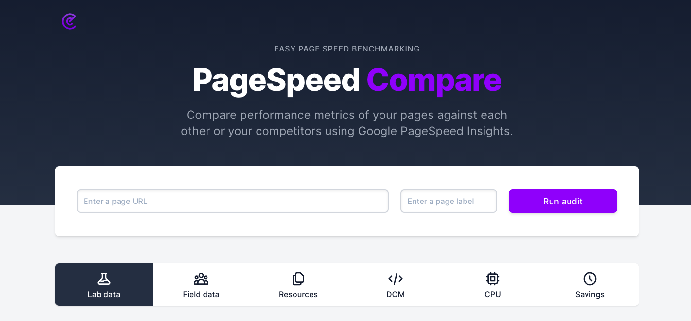 pagespeed compare