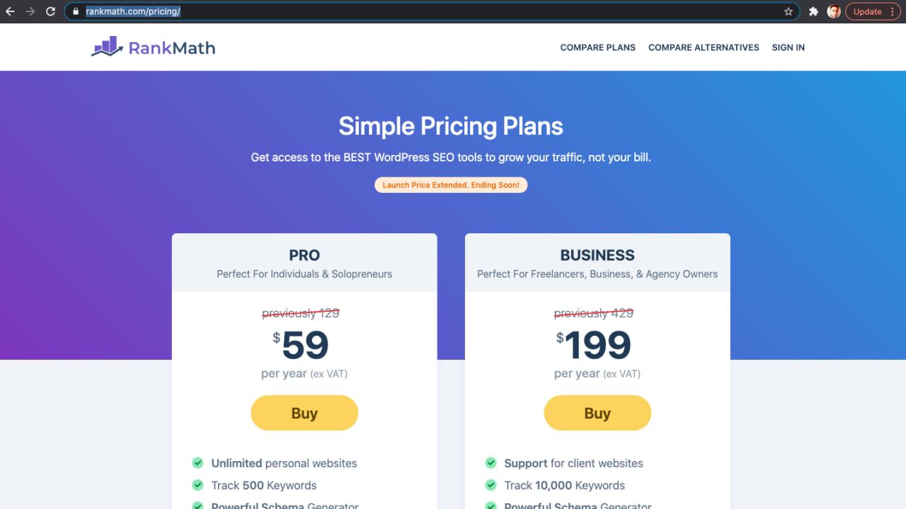 rank math pro pricing
